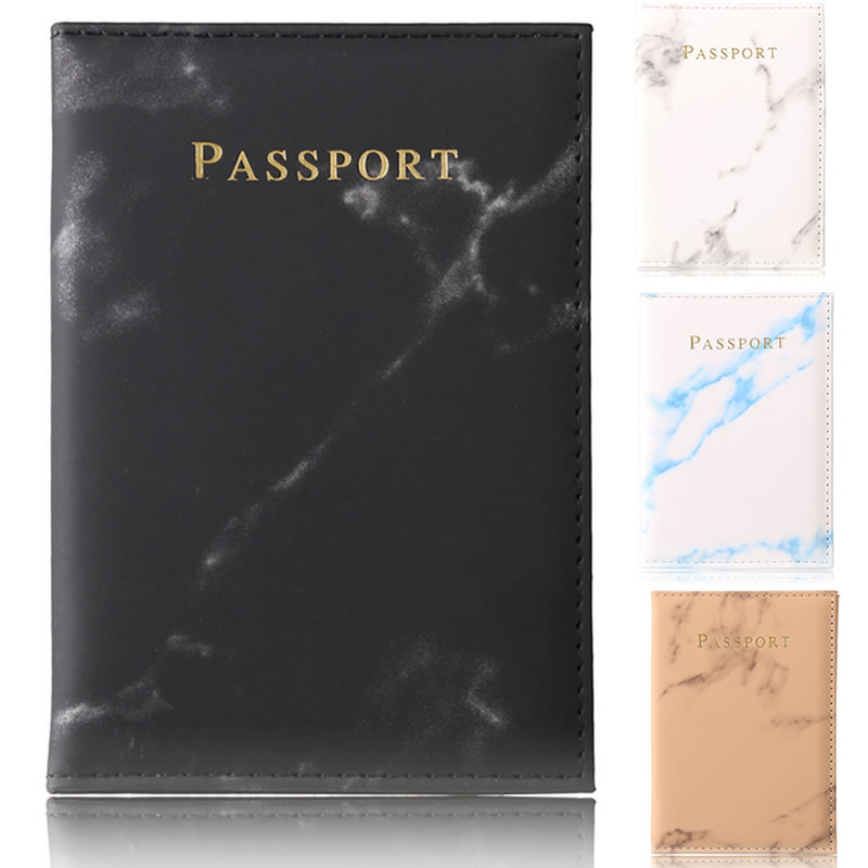 Travel Accessories Vintage Marble Passport Holder ID Cover Portable Bank Card Passport Women Men Business PU Leather Wallet Case