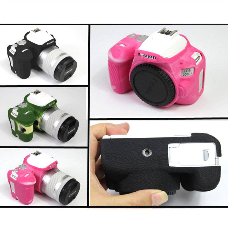 Rubber Silicon case Body Cover for <font><b>Canon</b></font> EOS <font><b>200D</b></font> 200DII 250D Kiss X9 X10 Rebel SL2 SL3 camera bag Protector Frame Skin shell image