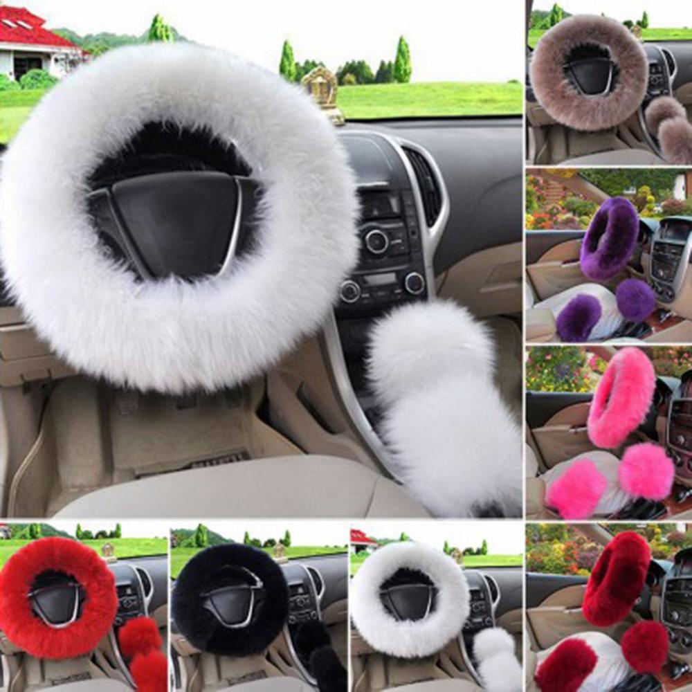 Accessory Long Plush Car Soft Wool  Woolen Handbrake Case Steering Wheel Cover