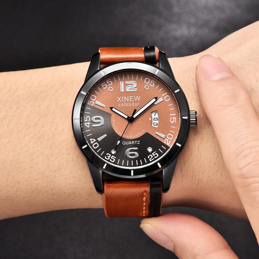 Fashion Creative Faux Leather Band Calendar Men Casual Quartz Wrist Watch Gift Mas-culino Fashion Men's Watch Large Dial Militar