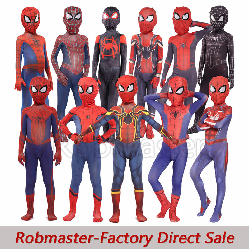 Kids Boys Spiderman Peter Parker Miles Morales Costume Raimi Spiderman Cosplay Bodysuit Far From Home Kid Spiderman Costume