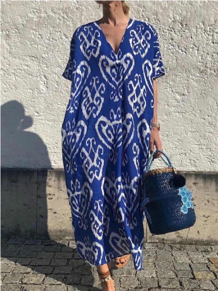 כחול רופף טיוחי ביקיני סארונגים לנשים וחוף קפטן בוהמי מודפס ארוך קיץ חוף שמלת טוניקת בגד ים כיסוי עד
