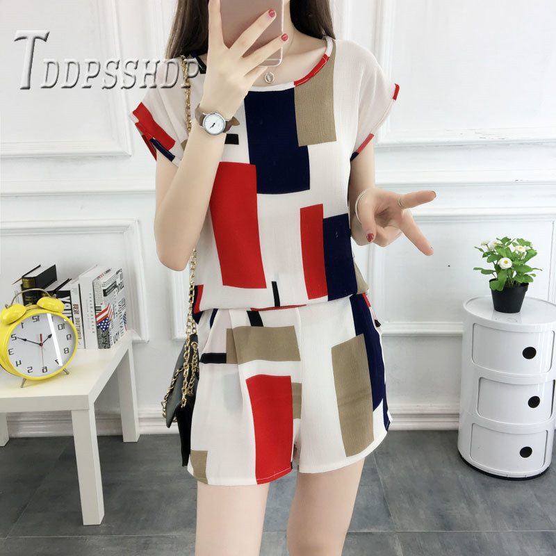 2019 Fashion 8 Colors Can Choose Women Sets Casual Blouse And Shorts Female Sets