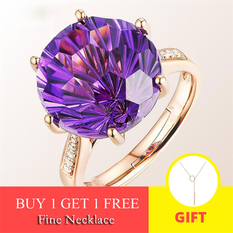 Amethyst Adjustable Ring Women's 925 Silver Engagement Gemstone Rings WNW147