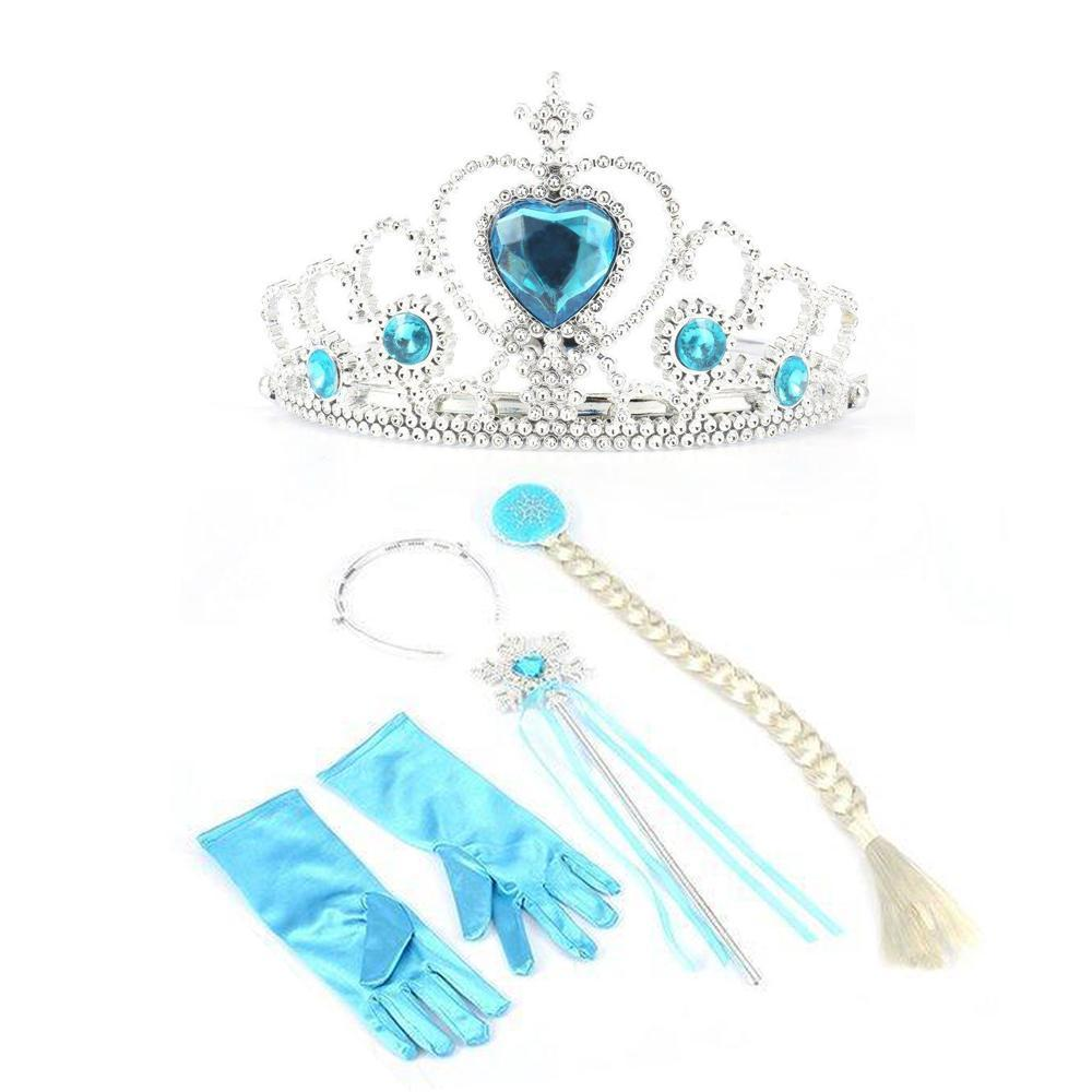 4pcs Set Elsa Anna Cosplay Crown Magic Wand Braid Gloves Rhinestone Hair Cosplay Wand Cosplay Anna Crown Wand Magic Wand