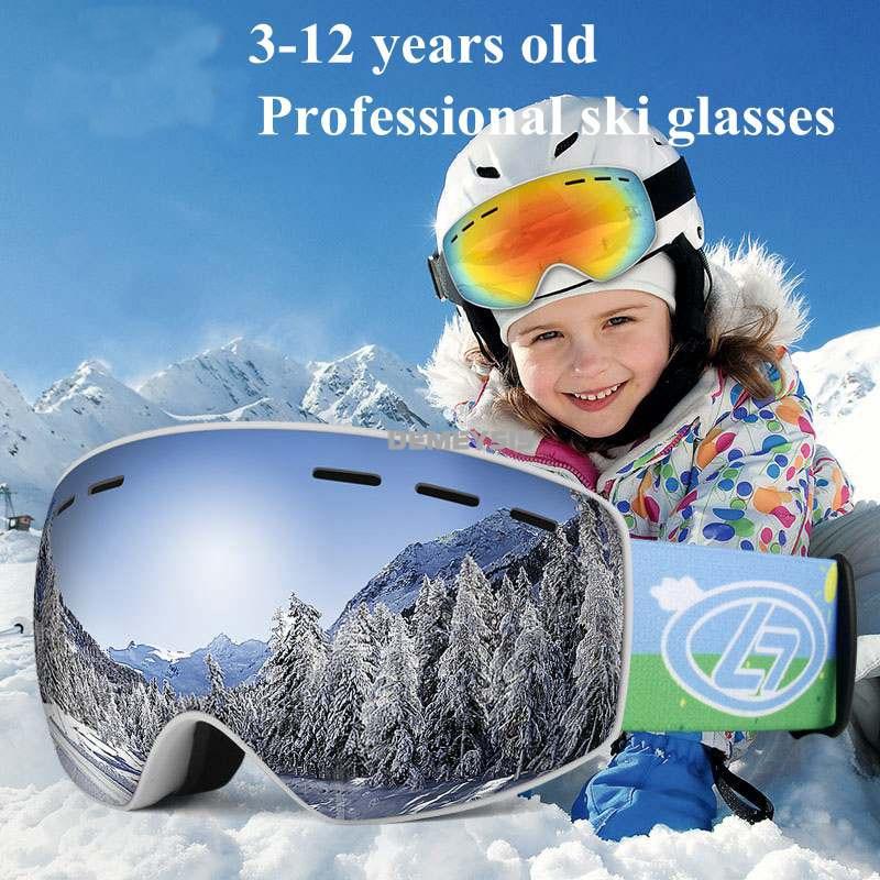 Professional Ski Goggles Kids Double Layers Lens Anti-fog Skiing Snow Mask Snowmobile Snowboard Glasses Winter Girls Boy Eyewear