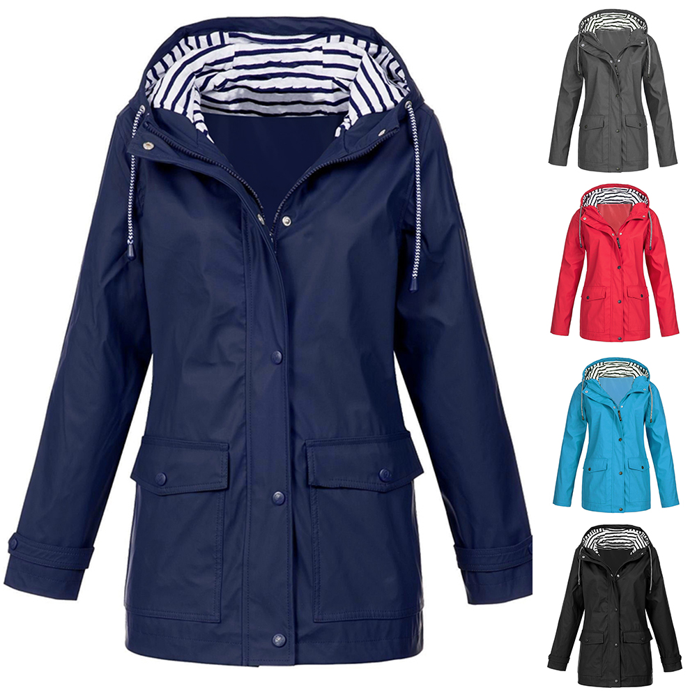 Women Jackets Fashion Female Solid Rain Jacket Outdoor Waterproof Hooded Raincoat Windbreaker Lightweight Winter Coat Jacket