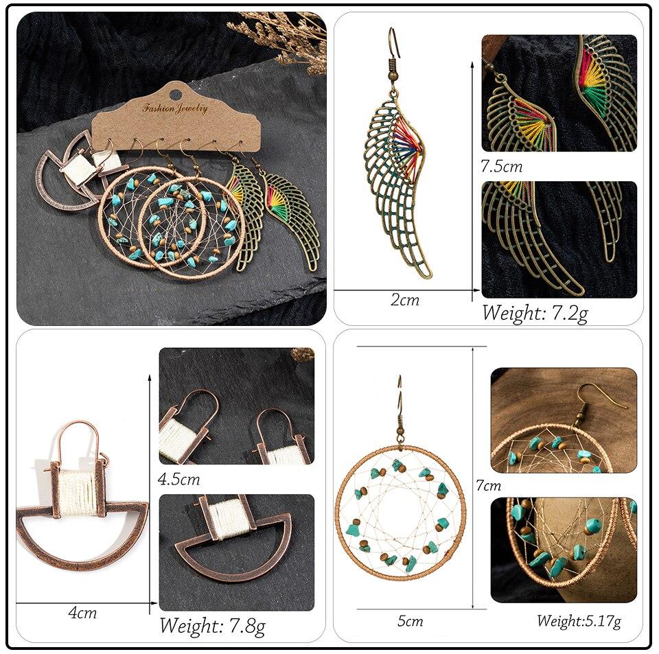 Bohemia Sea Shells Drop Earrings for Women Sets Vintage Ethnic Big Round Stones Wooden Tassel Fringe Earring Women's Set Jewelry (4)