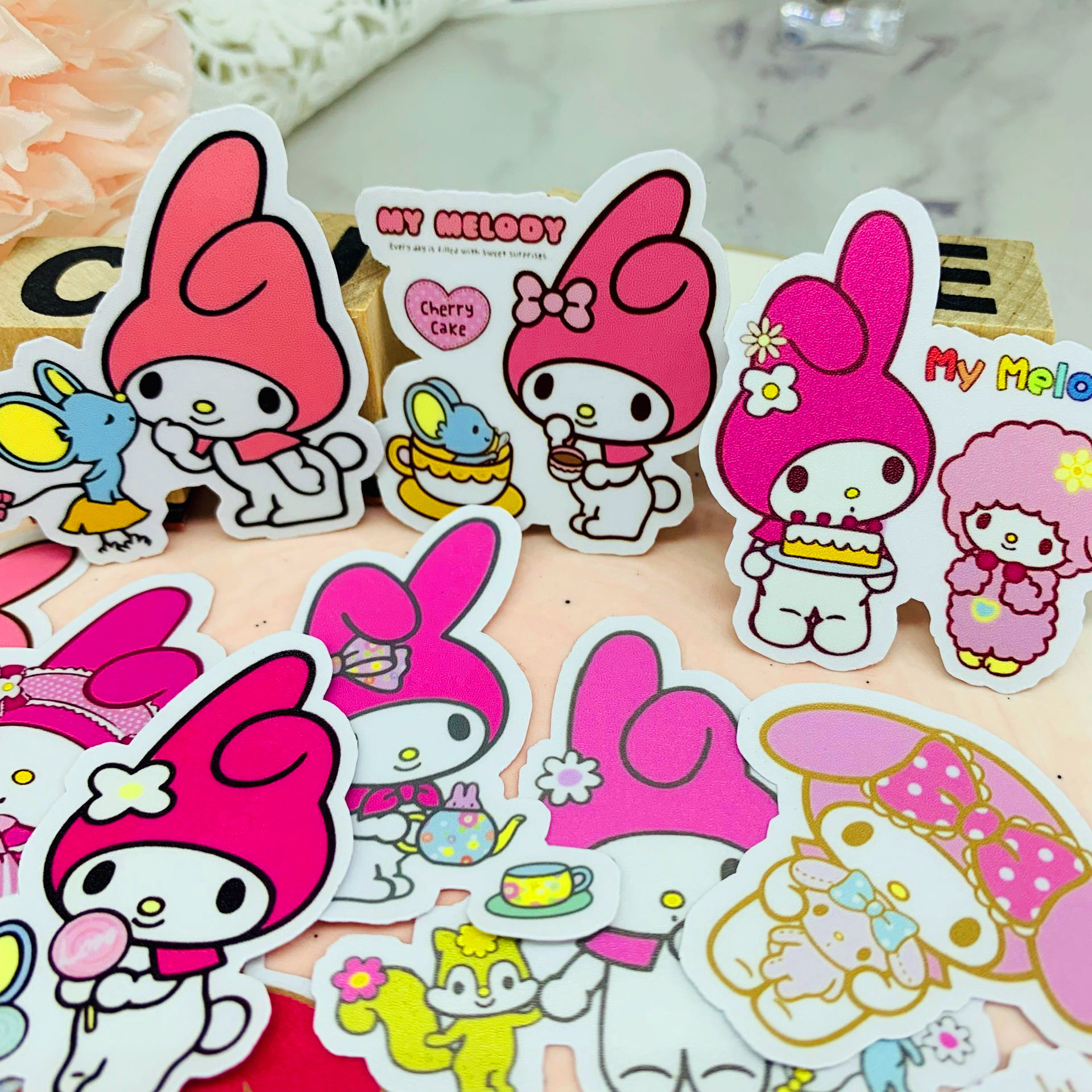 22 Pcs Cute Stationery Sticker Retro Kawaii Sticker Child Sticker DIY Diary Clip Art Photo