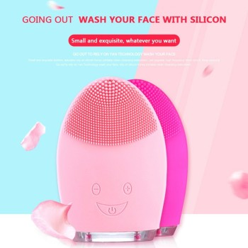 Electric Facial Cleansing Brush Silicone Sonic Vibration Mini Cleanser Deep Pore Cleansing Skin Massage Face Brush Phonophoresis