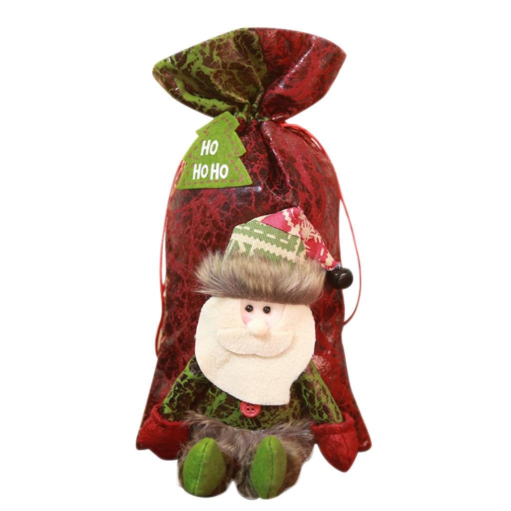 Drawstring Bags Christmas Red Cartoon Old Man Snowman Candy Tote Child Gift School Gym Crossbody Festival Bag Softback Printing