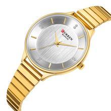 CURREN Ladies Watch Classic Design Wristwatch Women Stylish Gold Stainless Steel Quartz Hardlex Mirror Clock Waterproof