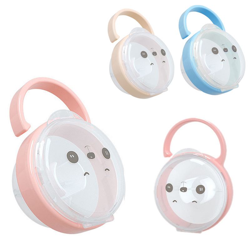 Portable Baby Infant Kids Pacifier Nipple Cradle Case Cartoon Expression Nipple Storage Box Soother Container Holder Pacifier