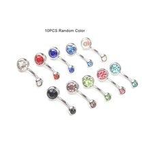 10 шт/партия пирсинг для пупка Хирургическая сталь одиночный кристалл горный хрусталь кольца для пупка пирсинг пупка