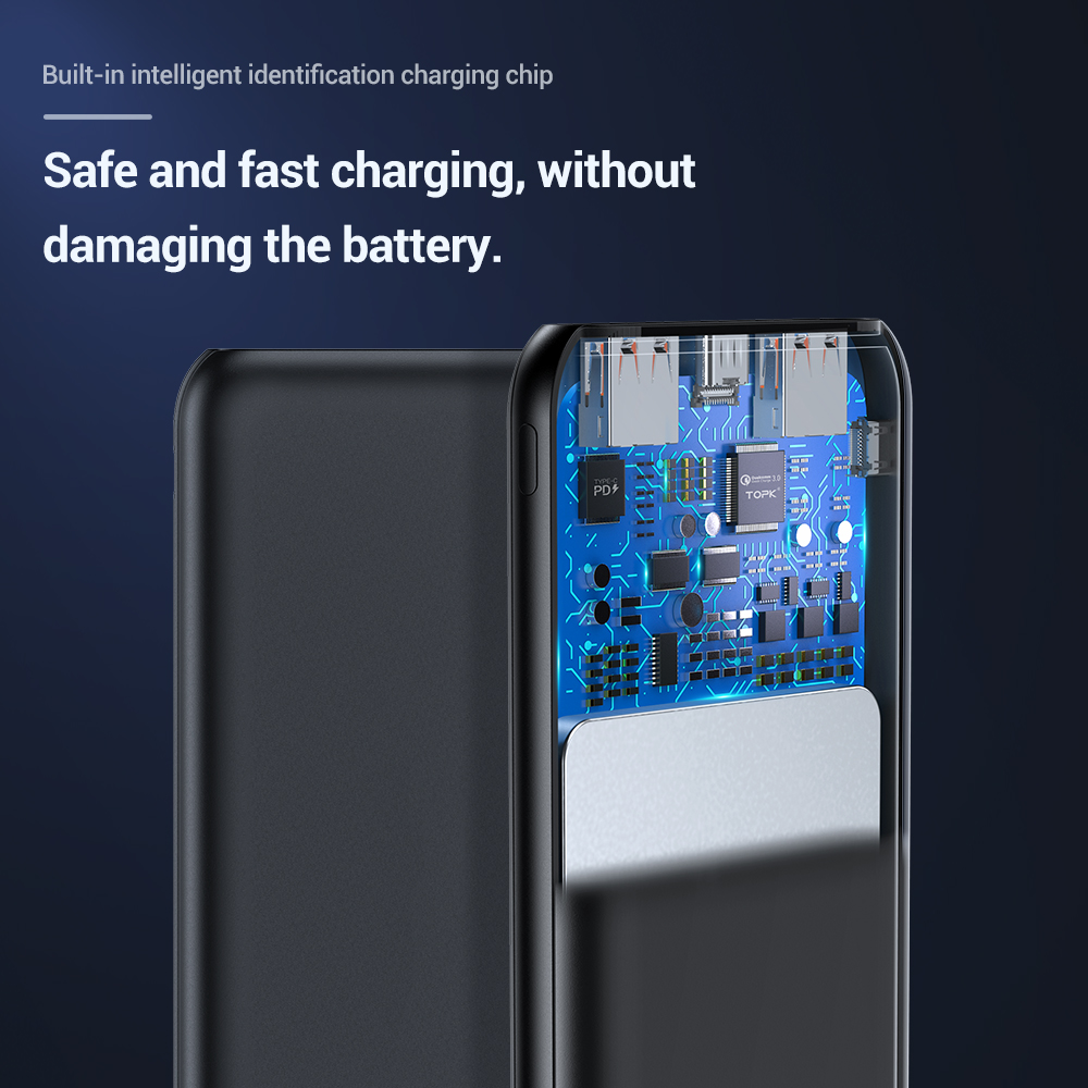 TOPK 10000mAh Power Bank 18W 3.0 Type C PD Fast Charging Power bank External Battery Charger for Mobile Phones 5