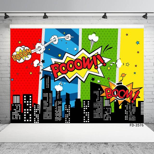 CdHBH Vinyl Background Super Hero City Photo Props for Studio Child Photography Backdrops 7x5FT 210cm X 150cm CdHBH-sc028