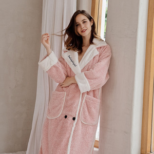Image 2 - 2019 Cardigan Winter Pajamas Womens Warm Bathrobe Thick Warm Coral Fleece Embroidered Robe Loose Home Clothes Sleepwear