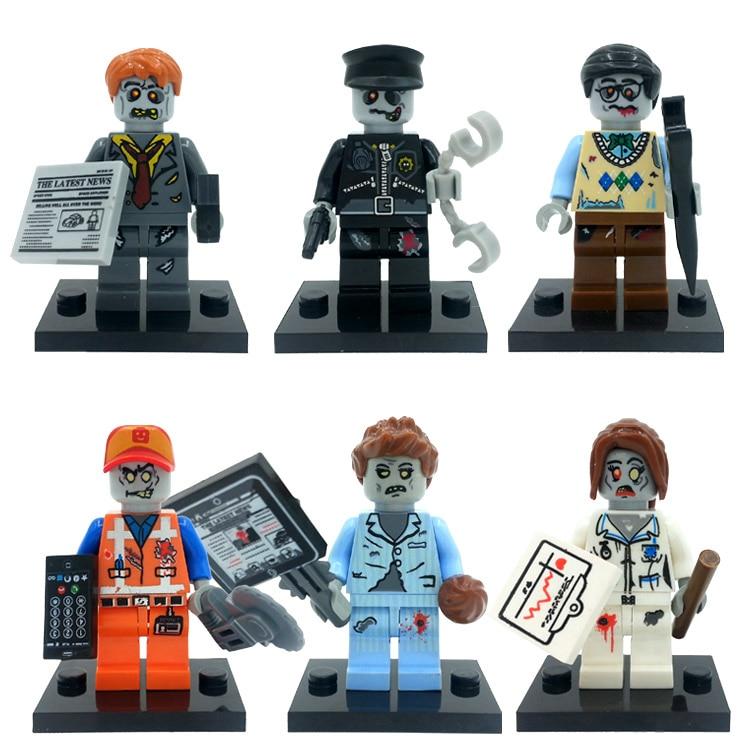 6pcs/lot ZOMBIE WORLD Skeleton Monster City Figure Set Ghosts Dog Walking Dead Model Building Blocks Bricks Toys