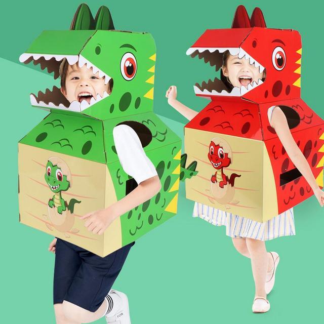 Baby Toys Dinosaur Carton Can Wear Paper Skin Handmade DIY Model Creative Birthday Gift Children's Toys 2