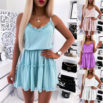 Hot Selling New Summer Solid Color Sleeveless Sling V-Neck Dress Women women s chic sleeveless solid color v neck a line dress