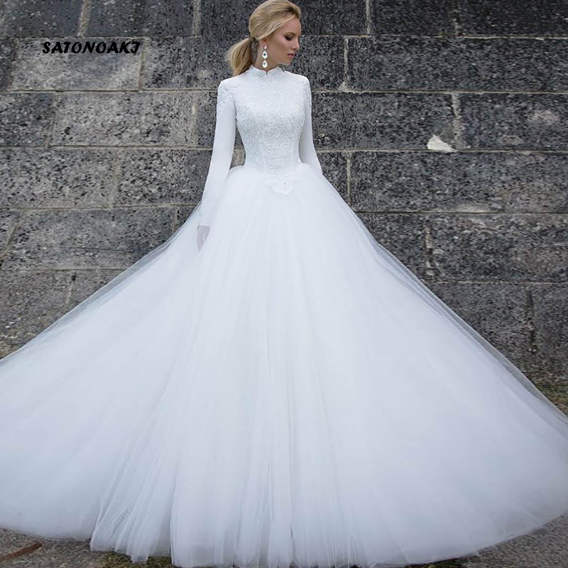 SATONOAKI  Muslim White Wedding Dress Long Sleeves Bride Dress 2019 Vestido Noiva Vintage High Neck Turkey Long Bridal Gowns