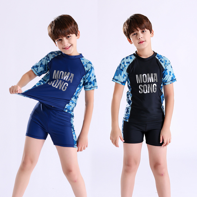 KID'S Swimwear Big Boy Plus-sized Teenager Boys' Swimming Trunks Set Students Camouflage Split Type Sun-resistant Swimwear