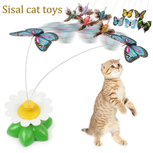 Cat Rotating Toy Electric Round Flower Butterfly Shape  Stick Pet Toys Interactive Cute juguetes para gatos D40