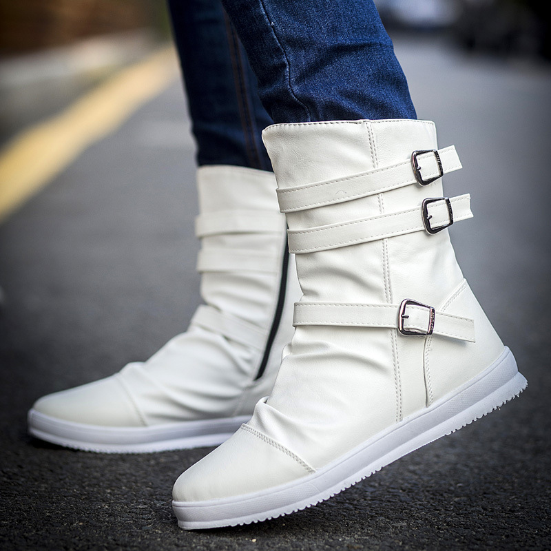 Comfort Middle Boots Flat Shoes Lace Up Casual Fashion Korean Thick Winter Warm
