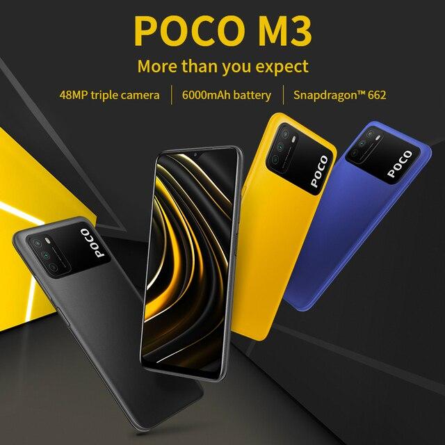 "Global Version POCO M3 Smartphone Snapdragon 662 Octa Core 4GB 64GB/128GB 6.53""display 6000mAh battery 48MP Triple Camera 6"