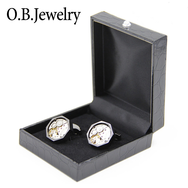 JIN&JU High Quality Leather Cufflinks Gift Boxes Black Color Paper Tie Clip Box White Color Jewelry Gift Box