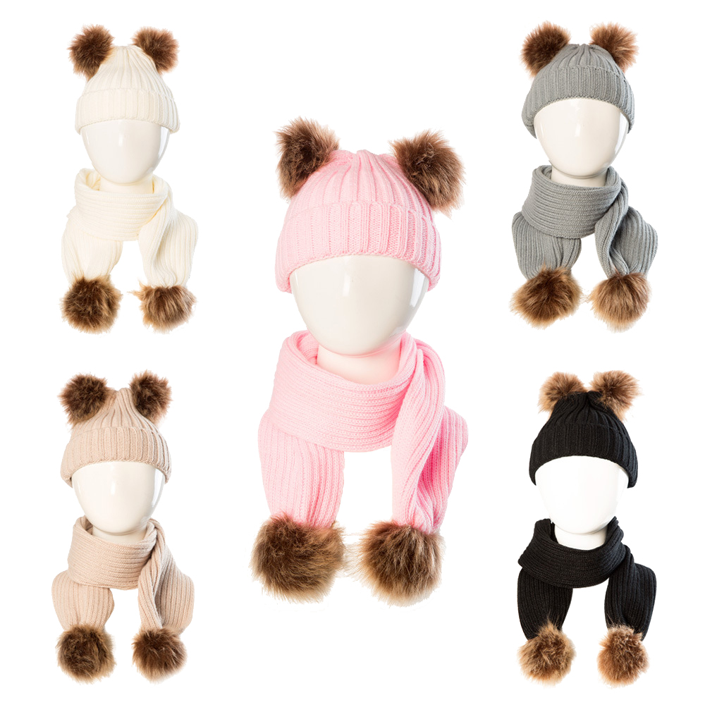 1SET Infant Hat And Scarf Children Winter Protection Knitting Wool Fluffy Warm Cap Suitable For Boys Girls Between 1 And 4 Years