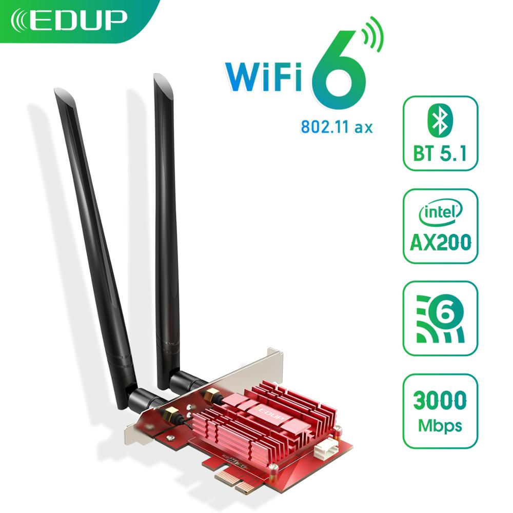 EDUP 3000Mbps WiFi 6 PCI Express Bluetooth 5.1 Adapter Dual Band 2.4G/5GHz 802.11ac/ax Intel AX200 PCIe Wireless Network Card(China)
