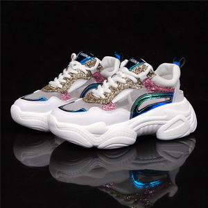 Image 1 - MOOREGOOD Brand Wild Lace up Hollow out Ladies Sneakers Youth Trend Thick bottom  shoes woman Wear resistant кроссовки женские