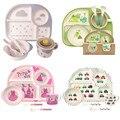 5 шт./компл. набор посуды для детей  набор тарелок из 100% бамбукового волокна  набор тарелок с бантиком в виде зверей и зоопарка  набор посуды д...
