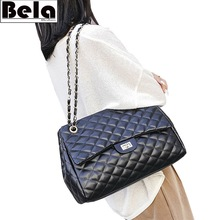 BelaBolso Thread Shoulder Bags Large Capacity Top handle Bags For Women Chain PU Leather Handbags Women Luxury Bag Female HMB654