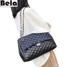 BelaBolso iplik omuz çantaları büyük kapasiteli en saplı çanta için kadın zincir PU deri çantalar kadın lüks çanta kadın HMB654