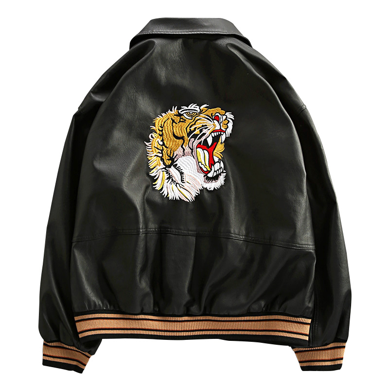 2019 Autumn Winter New Classic Brand Men Bomber PU Leather Jacket  Tiger Head Embroidered Baseball Casual Loose Coats