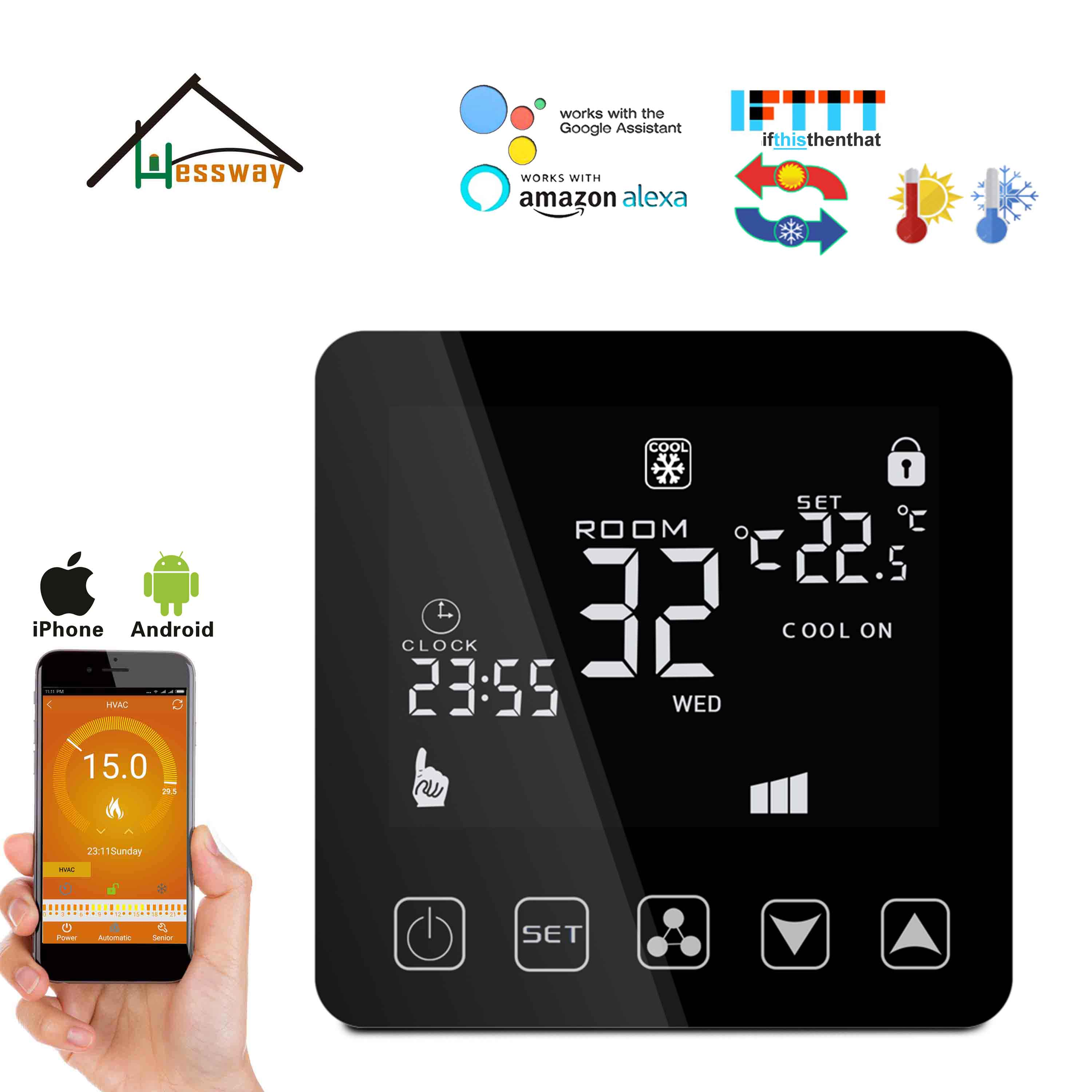 HESSWAY 4P&2P Cooling Heating Fan Coil Wifi Thermostat With Works With Alexa Google Home