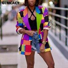 Women Geo Printed Colorful Blazer Elegant Ladies Chic Streetwear Hip Hop Sport C