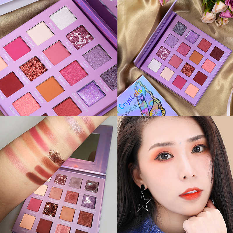 16/15 Warna Kupu-kupu Glitter Eye Shadow Palet Tahan Air 3D Matte Eye Makeup Palet Tahan Ungu Payet Eye Shadow TSLM2