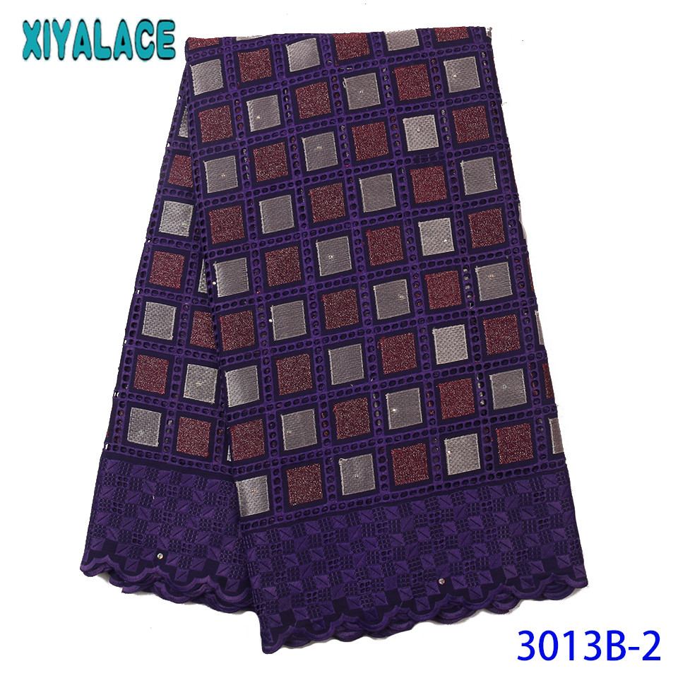 2019 Swiss Voile Lace In Switzerland African Fabric Lace High Quality Cotton Lace With Stones Hollow Out KS3013B