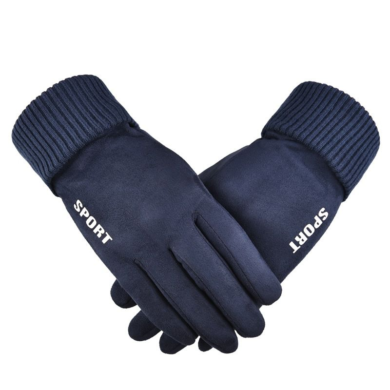 Men Women Suede Winter Motorcycle Touch Screen Windproof Cold Resistant Outdoor Riding Warm Cycling Sports Gloves