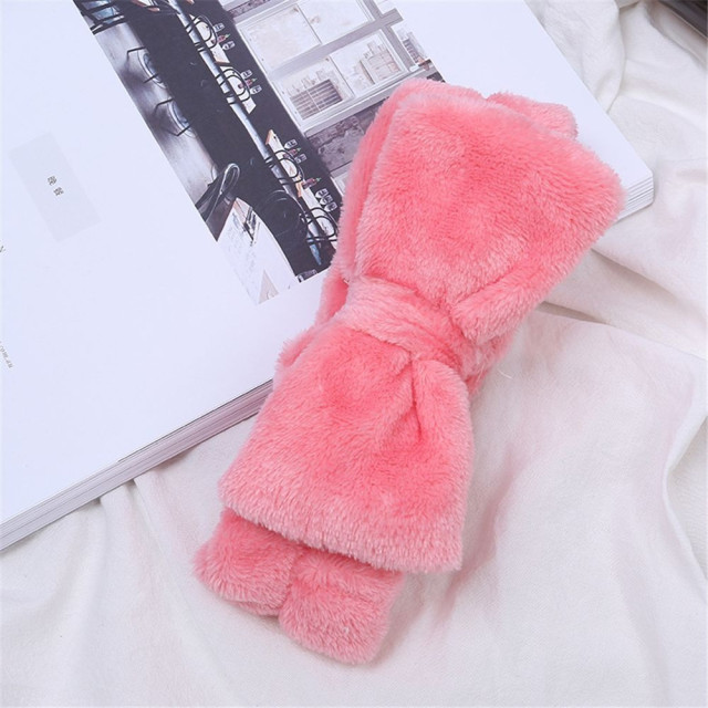 Coral Fleece Hairbow Cross Headband For Wash Face Makeup Lady Bath Mask Cosmetic Hairband Elastic Soft