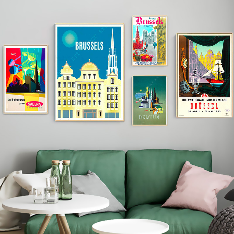 Brussels Belgium Capital Europe Vintage Travel Posters Canvas Paintings Kraft Poster Coated Wall Sticker Home Decoration Gift