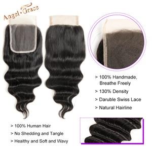 Image 4 - Onda solta brasileira pacotes com fechamento remy 100% cabelo humano 3 pacotes com fecho anjo graça pacotes de cabelo com fechamento do laço