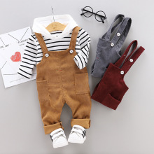 Spring Autumn Baby Boys Girls Clothes Infant Cotton Striped T Shirt Bib Pants 2pcs/sets Kids Garment Children Casual Sport Suit