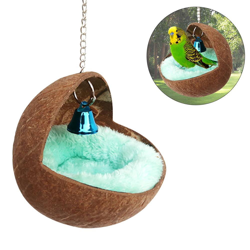 AUGKUN Small Pet House Hamster Guinea Pig Squirrel Dutch Pig Sleeping Nest Round Coconut Shell Parrot Bird Nests In Stock