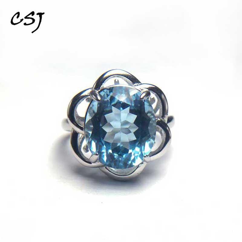 CSJ 100% naturel bleu bagues en topaze Sterling 925 argent coussin coupe 12mm bijoux fins femmes Femme mariage fiançailles fête cadeau