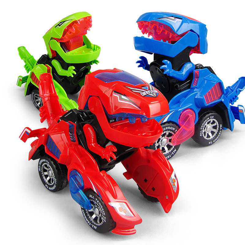 Red 3D Deform Dinosour Universal Wheel Dinosour Car Transformation Robot Vehicle LED Electric Car Toy With Light Music Gift Kids