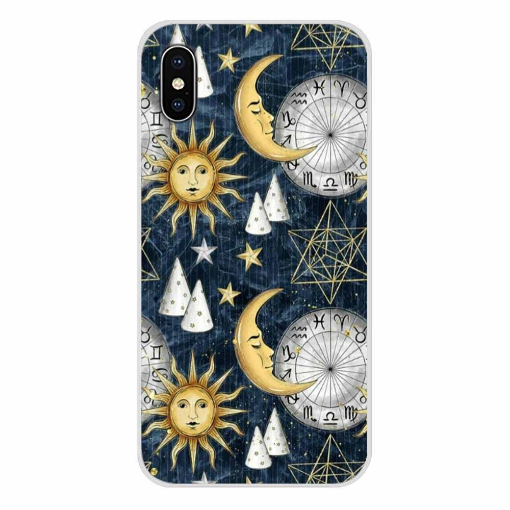 Cho Iphone X XR XS 11Pro Max 4S 5S 5C SE 6 6S 7 8 Plus IPod cảm Ứng 5 6 TPU Trong Suốt Ốp Lưng Vàng Mặt Trăng Và Mặt Trời Thẩm Mỹ